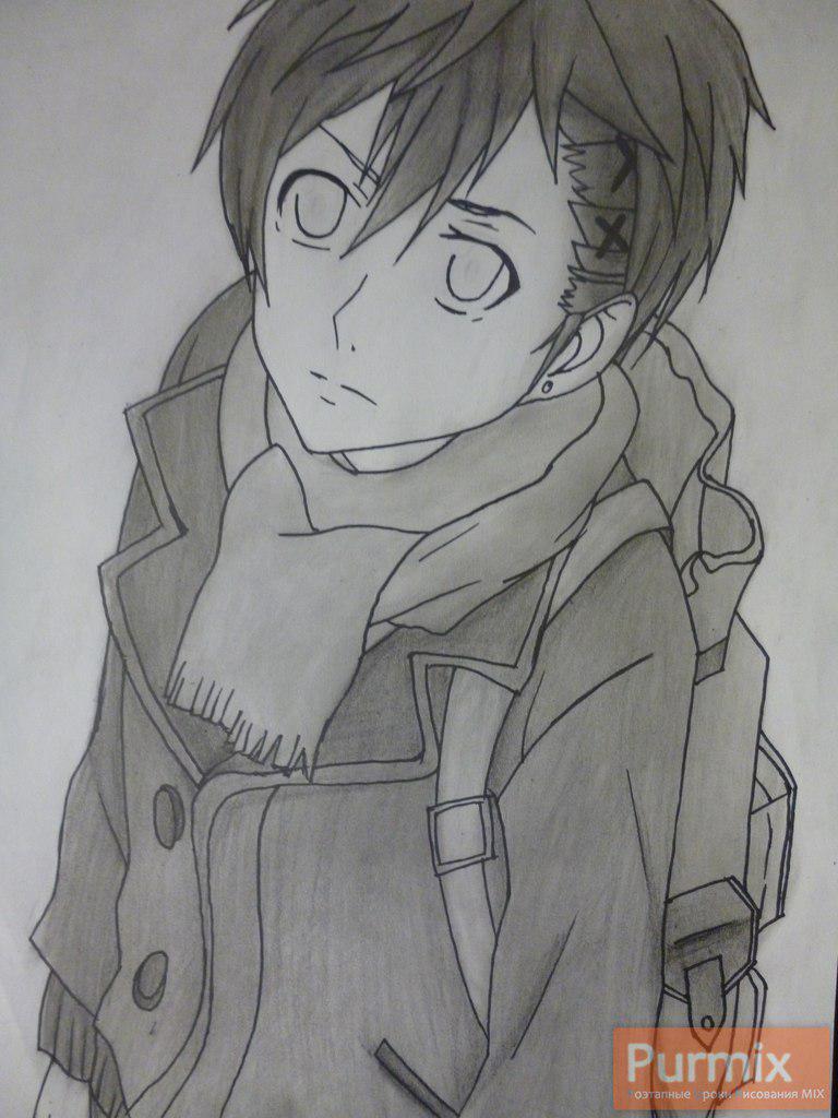 Рисуем Ёшино Такигава из аниме Буря потерь карандашами - шаг 8