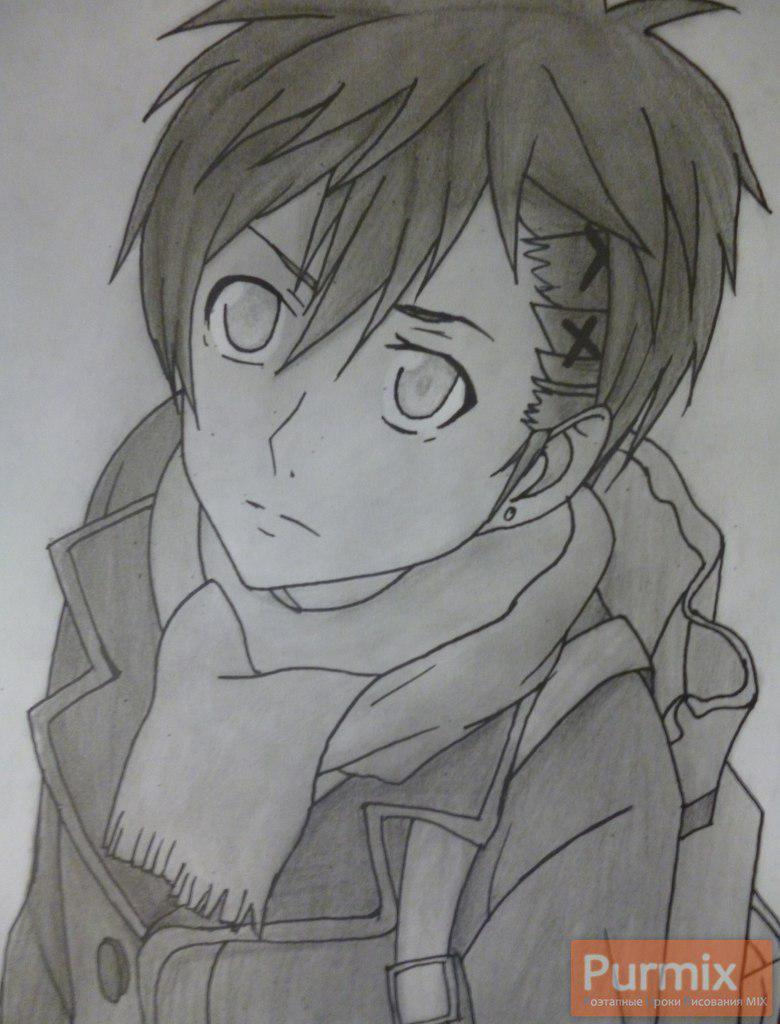 Рисуем Ёшино Такигава из аниме Буря потерь карандашами - шаг 9