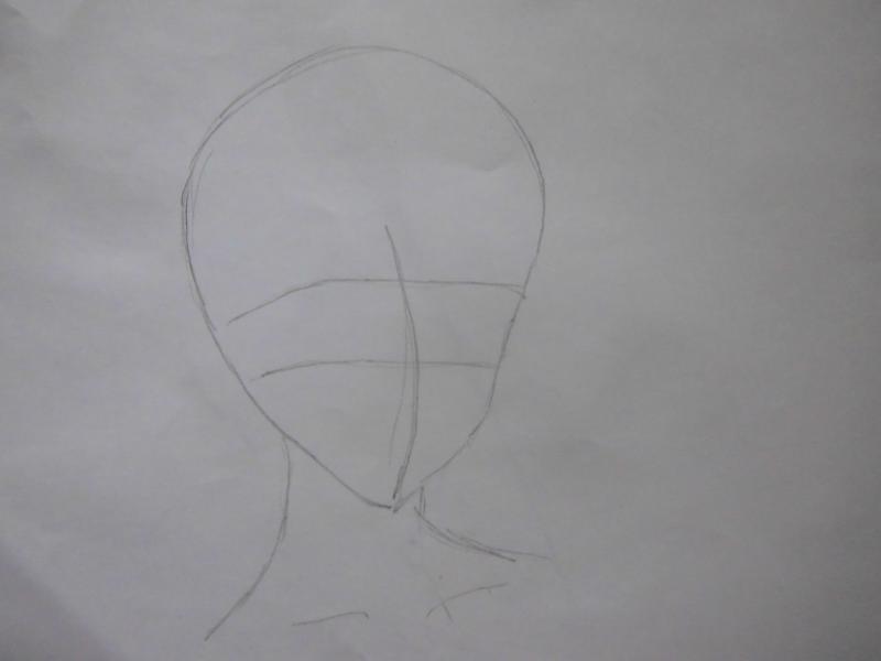Рисуем голову аниме девушки с короткими волосами - шаг 1