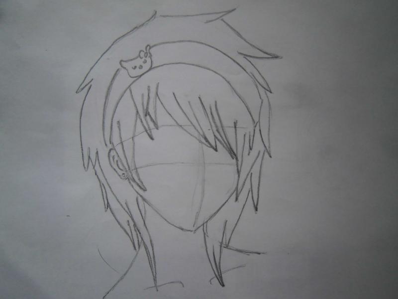 Рисуем голову аниме девушки с короткими волосами - шаг 2