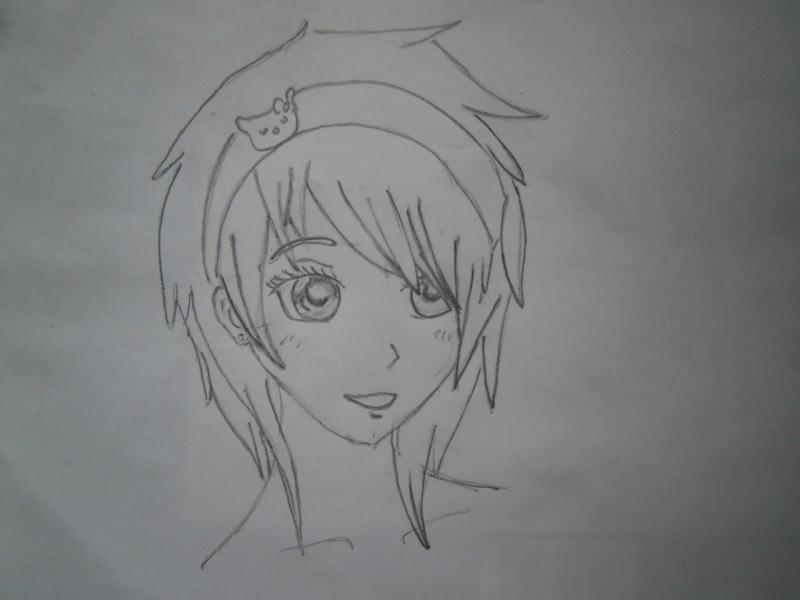 Рисуем голову аниме девушки с короткими волосами - шаг 3