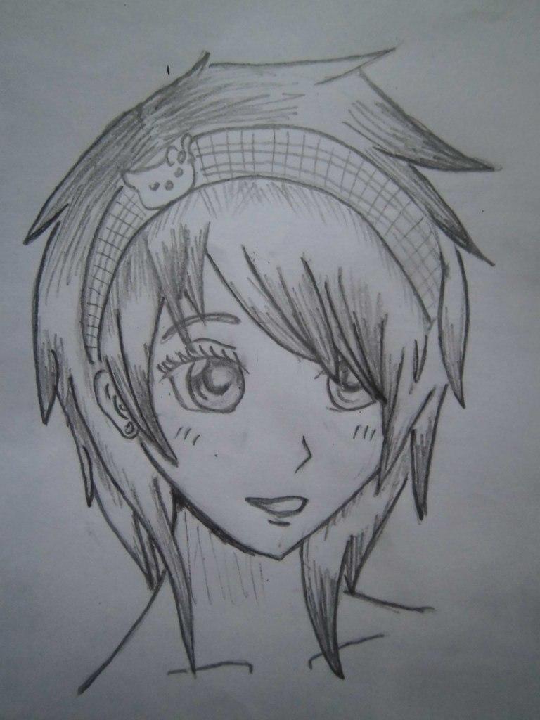 Рисуем голову аниме девушки с короткими волосами - шаг 4