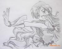 Фото Ханон из аниме Мелодия русалки простым карандашом