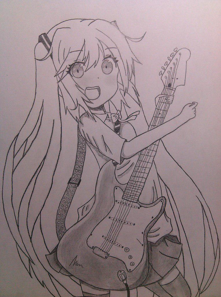 Рисуем Хатсуне Мику с гитарой в руках - шаг 9