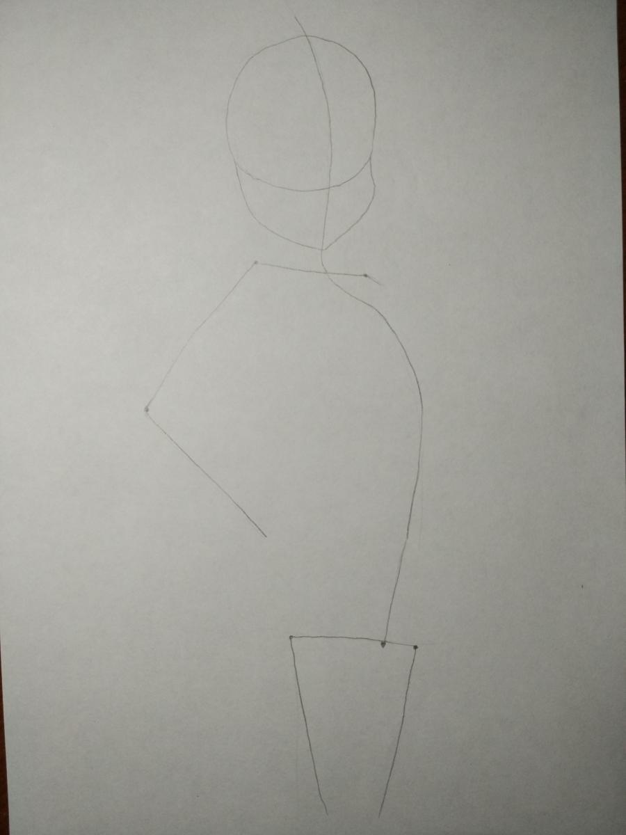 Рисуем аниме девушку-кошку карандашами - шаг 1