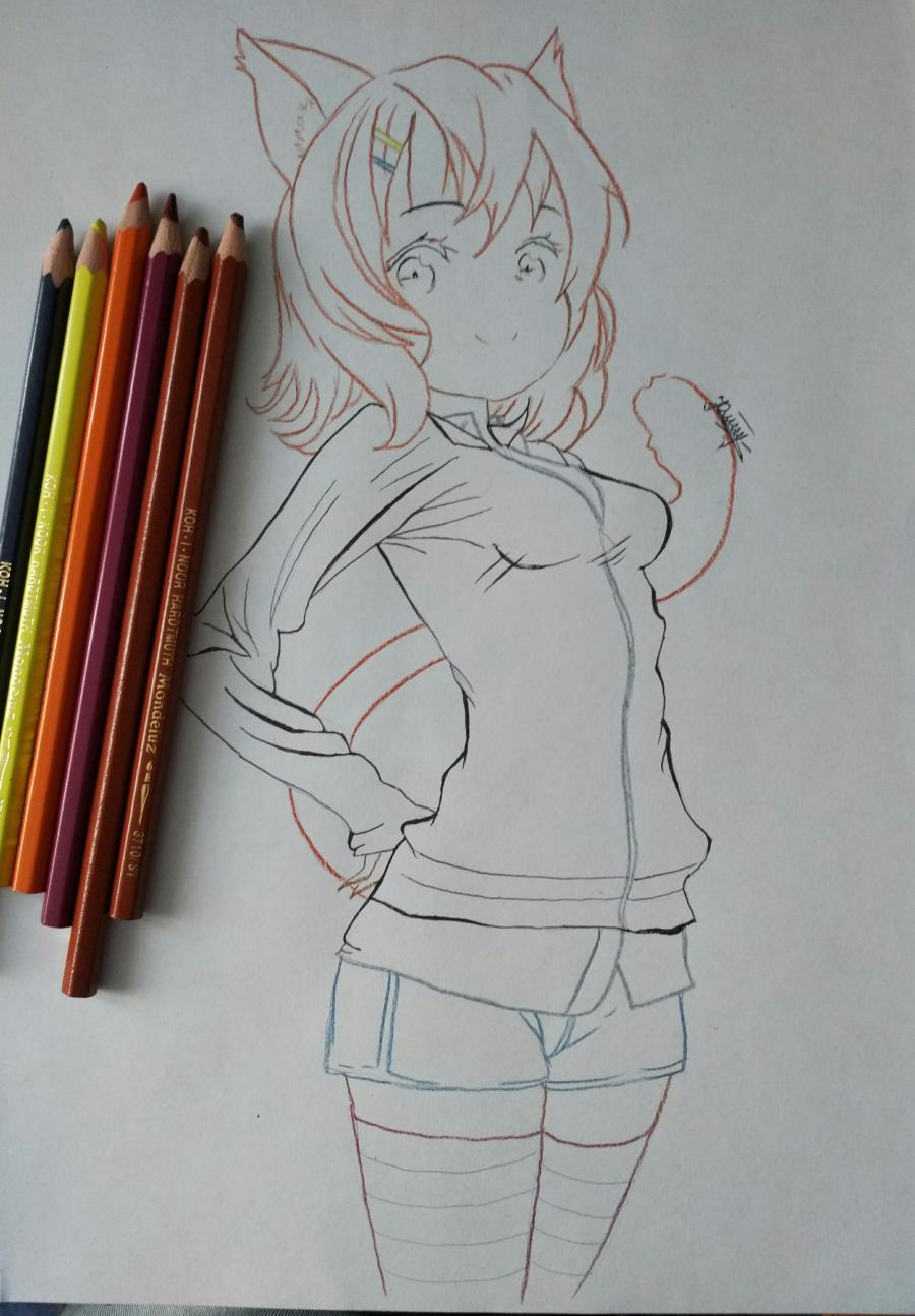 Рисуем аниме девушку-кошку карандашами - шаг 10
