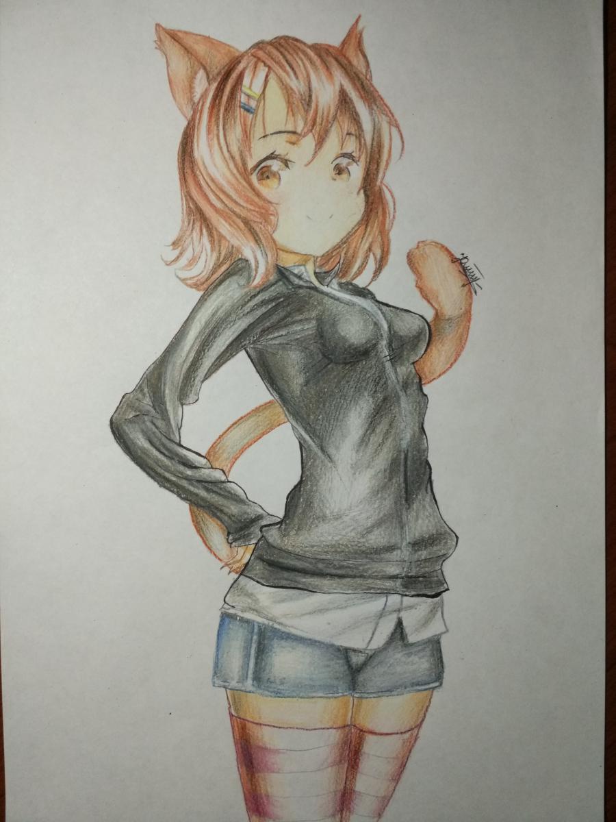 Рисуем аниме девушку-кошку карандашами - шаг 13