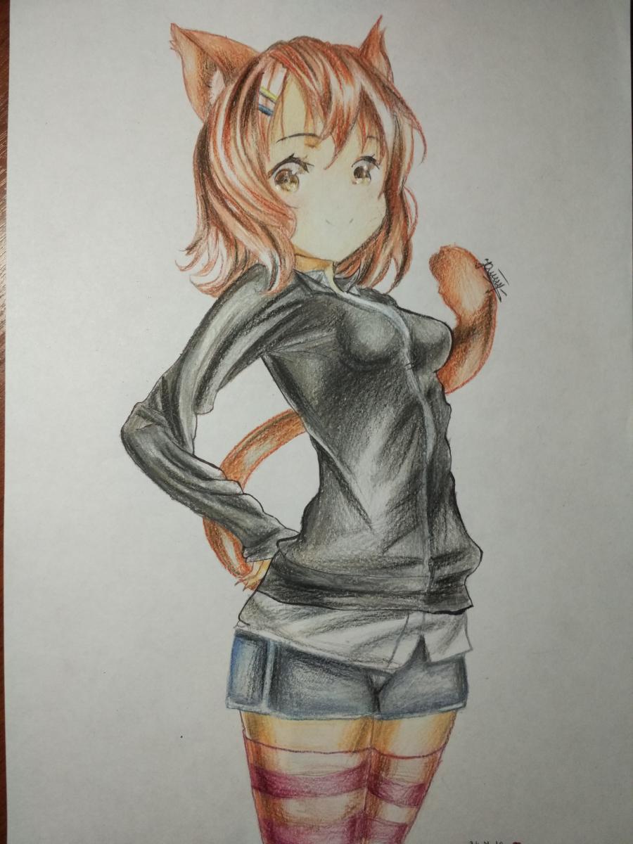 Рисуем аниме девушку-кошку карандашами - шаг 14