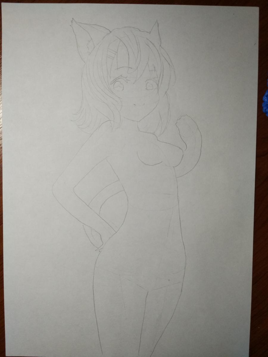 Рисуем аниме девушку-кошку карандашами - шаг 5