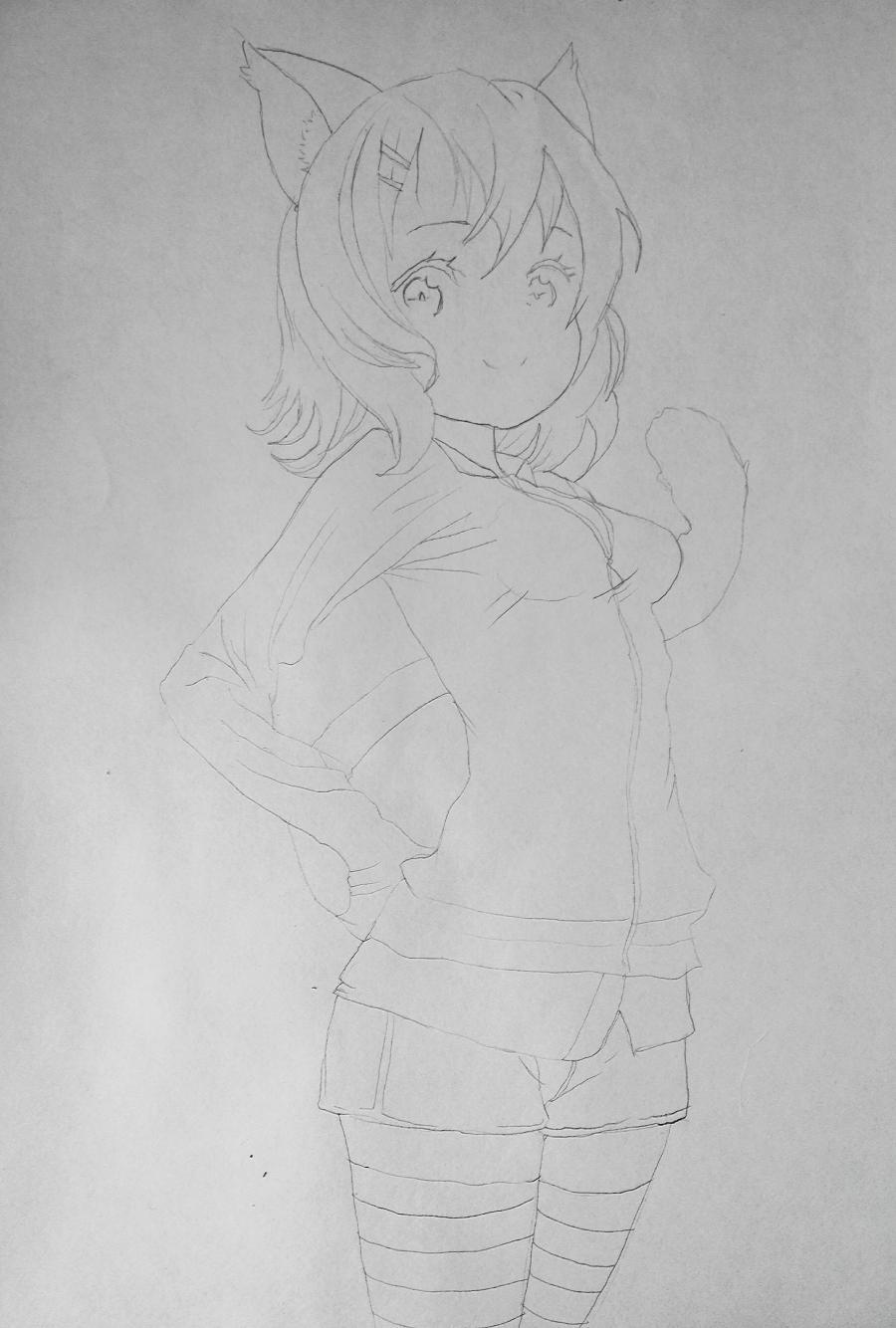 Рисуем аниме девушку-кошку карандашами - шаг 7