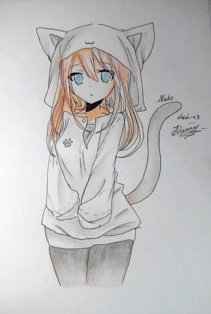 Рисуем аниме девушку-кошку в капюшоне - шаг 14