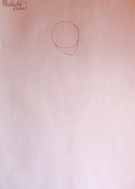 Рисуем и раскрасить аниме девушку-кролика караендашами - шаг 2