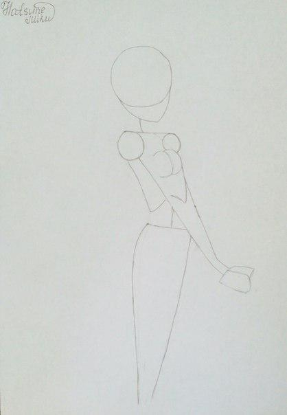 Рисуем и раскрасить аниме девушку-кролика караендашами - шаг 3