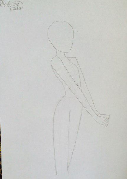 Рисуем и раскрасить аниме девушку-кролика караендашами - шаг 4