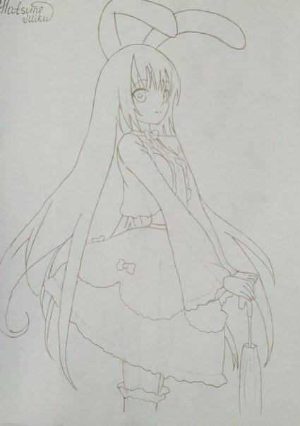 Рисуем и раскрасить аниме девушку-кролика караендашами - шаг 7