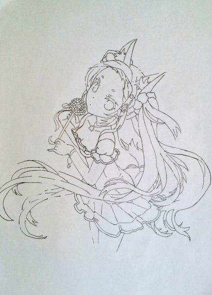 Рисуем и раскрасить аниме девушку-лисичку - шаг 11