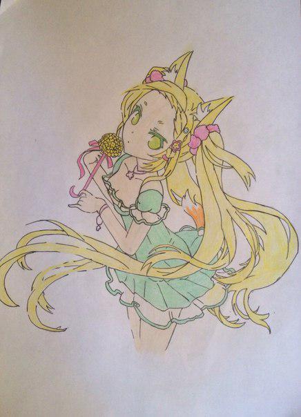 Рисуем и раскрасить аниме девушку-лисичку - шаг 12