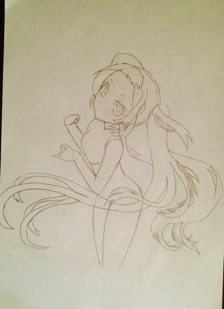 Рисуем и раскрасить аниме девушку-лисичку - шаг 8