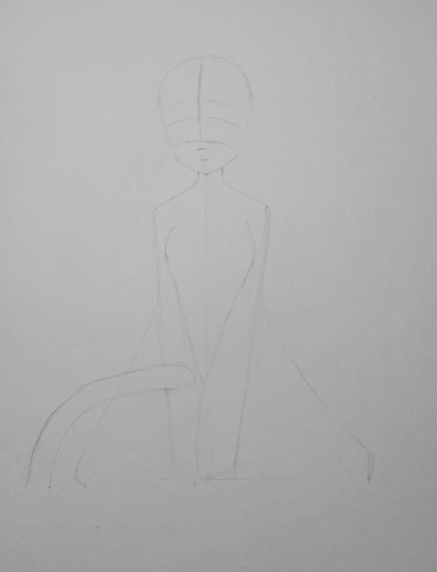 Рисуем и раскрасить аниме девушку неко - шаг 2