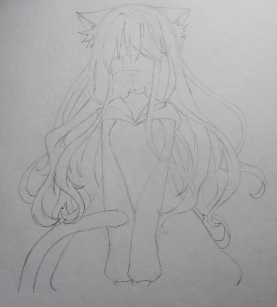 Рисуем и раскрасить аниме девушку неко - шаг 4