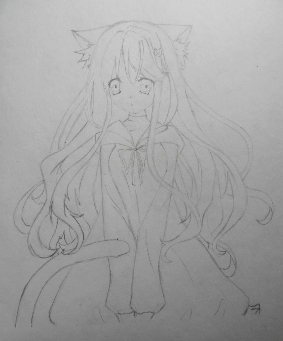 Рисуем и раскрасить аниме девушку неко - шаг 6