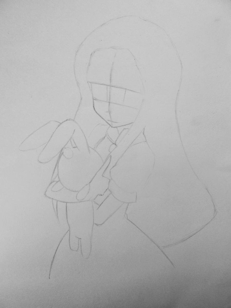 Рисуем и раскрасить аниме девушку с зайцем - шаг 2
