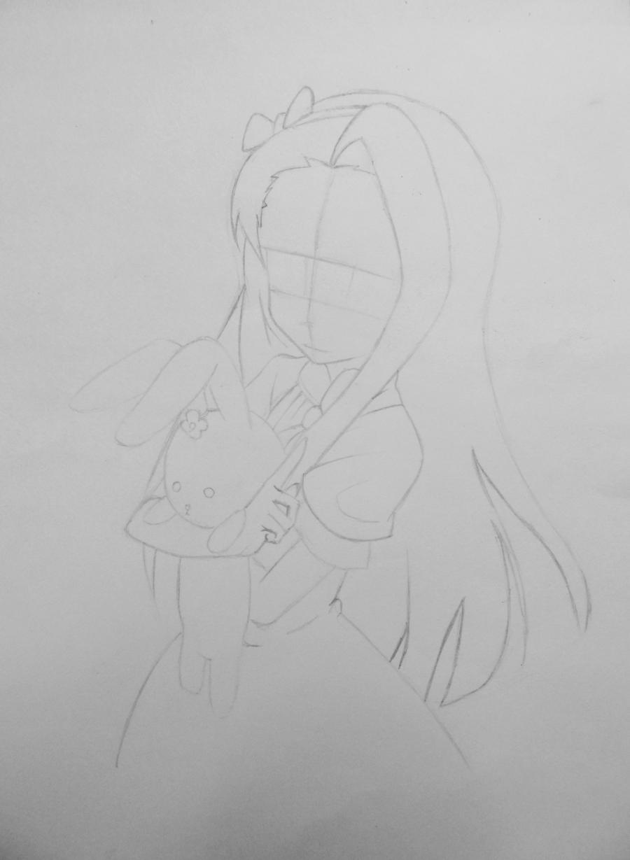 Рисуем и раскрасить аниме девушку с зайцем - шаг 3