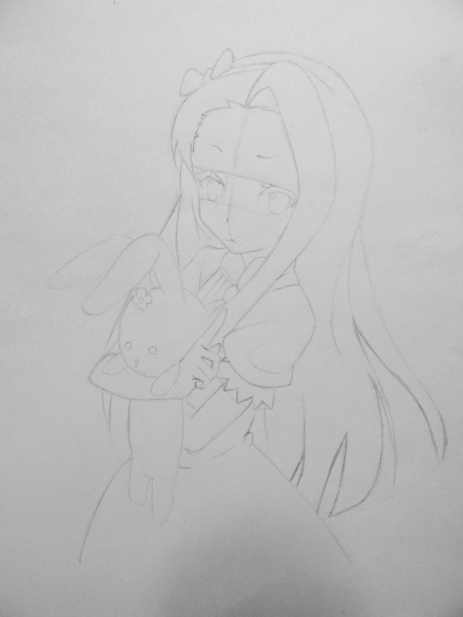Рисуем и раскрасить аниме девушку с зайцем - шаг 4