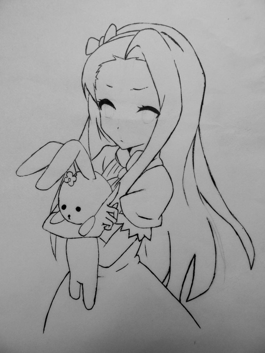 Рисуем и раскрасить аниме девушку с зайцем - шаг 5