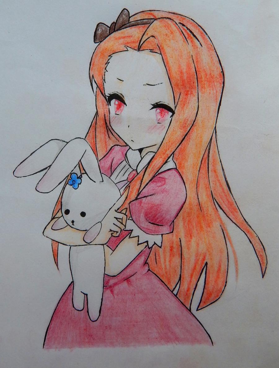 Рисуем и раскрасить аниме девушку с зайцем - шаг 6