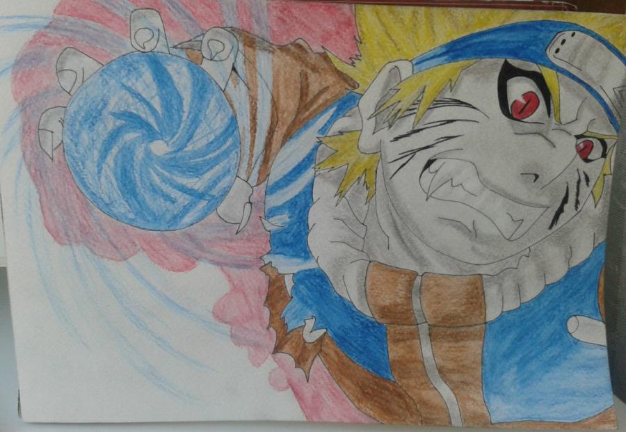 Рисуем и раскрасить Наруто цветными карандашами - шаг 10