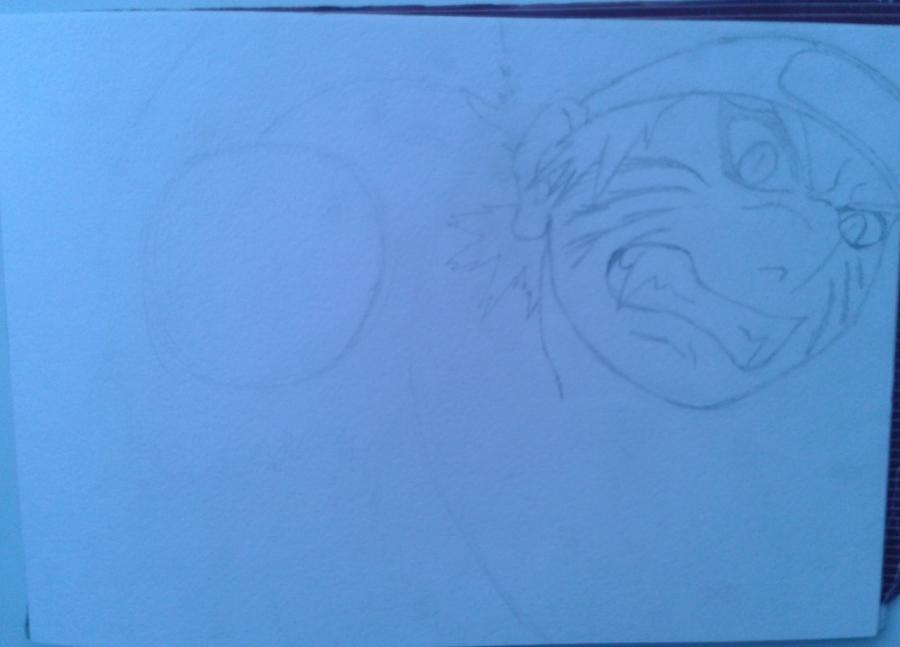 Рисуем и раскрасить Наруто цветными карандашами - шаг 2
