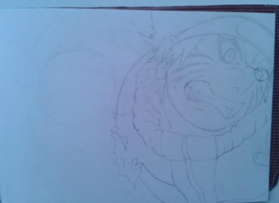 Рисуем и раскрасить Наруто цветными карандашами - шаг 3