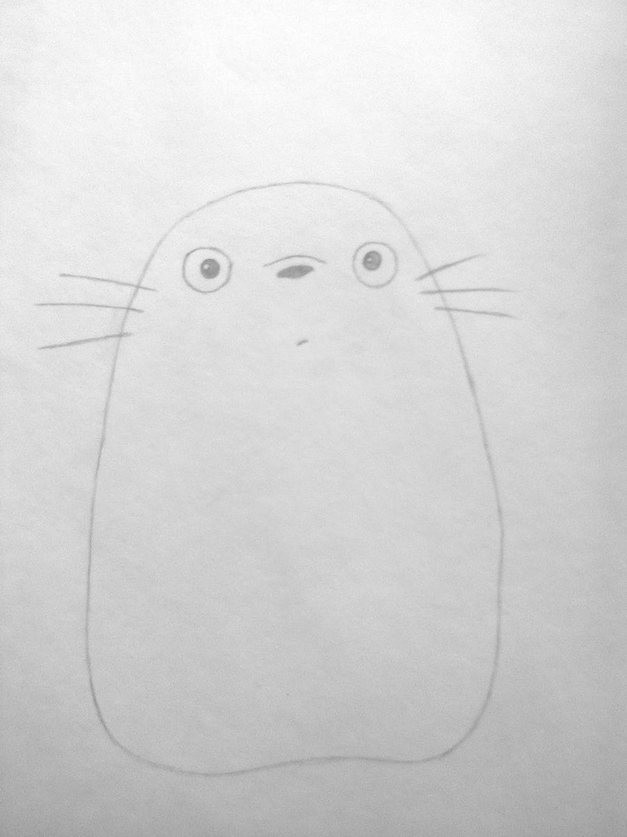 Рисуем Тоторо из аниме Мой сосед Тоторо - шаг 2