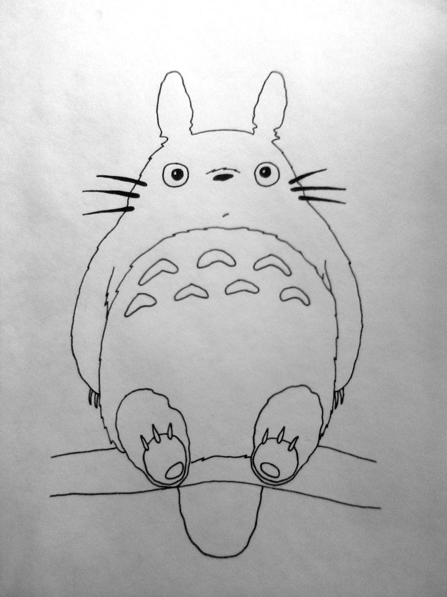 Рисуем Тоторо из аниме Мой сосед Тоторо - шаг 4