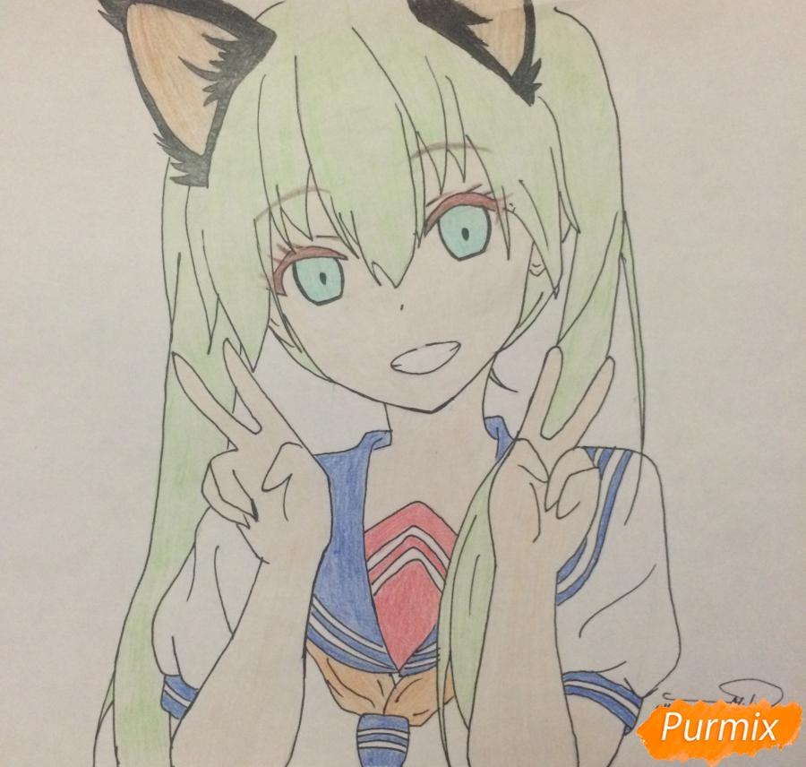 Рисуем и раскрасить улыбающуюся неко девушку - шаг 10