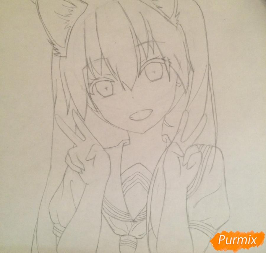 Рисуем и раскрасить улыбающуюся неко девушку - шаг 8