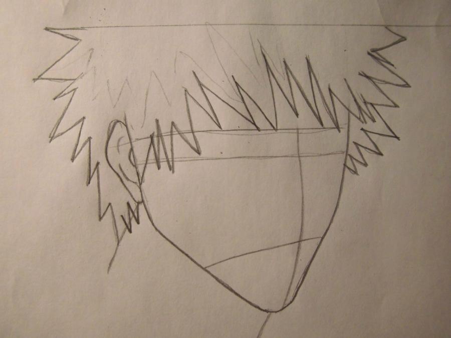 Учимся рисовать Ичиго Куросаки из Блич - шаг 2