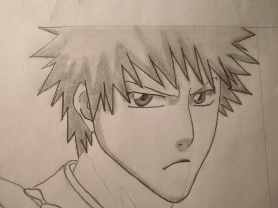 Учимся рисовать Ичиго Куросаки из Блич - шаг 6