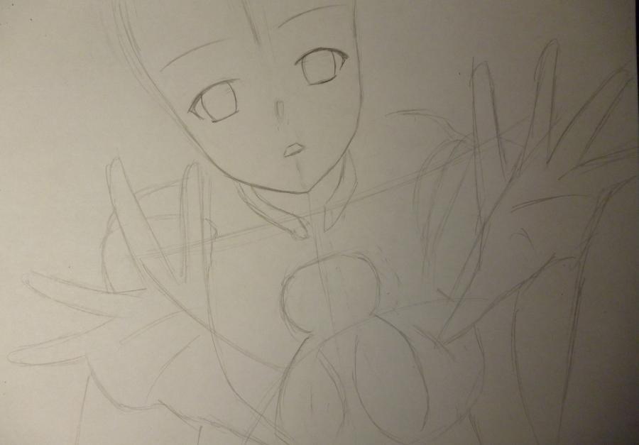 Рисуем Инори Юдзуриха из Корона Грешника карандашами - шаг 2
