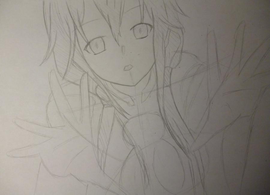 Рисуем Инори Юдзуриха из Корона Грешника карандашами - шаг 3