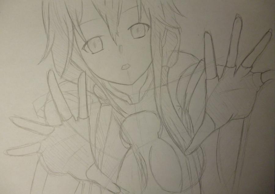 Рисуем Инори Юдзуриха из Корона Грешника карандашами - шаг 4