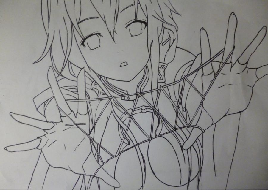Рисуем Инори Юдзуриха из Корона Грешника карандашами - шаг 7
