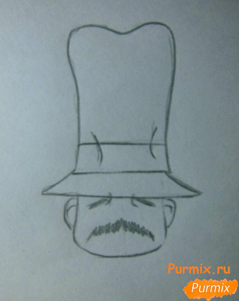 Рисуем инспектора из аниме Неуловимая воровка Рейня - шаг 3