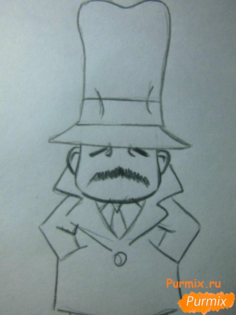 Рисуем инспектора из аниме Неуловимая воровка Рейня - шаг 5