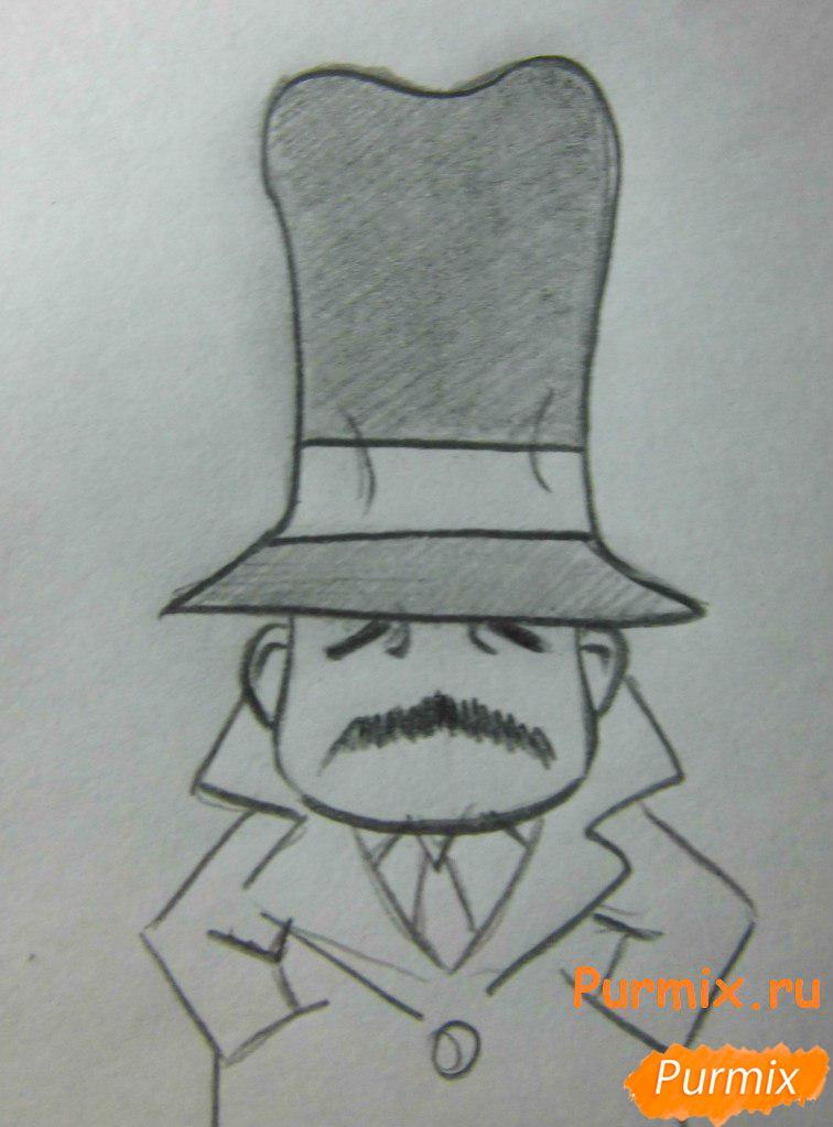 Рисуем инспектора из аниме Неуловимая воровка Рейня - шаг 6