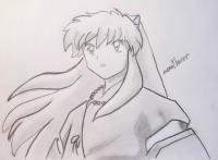 Инуяся из аниме InuYasha карандашом