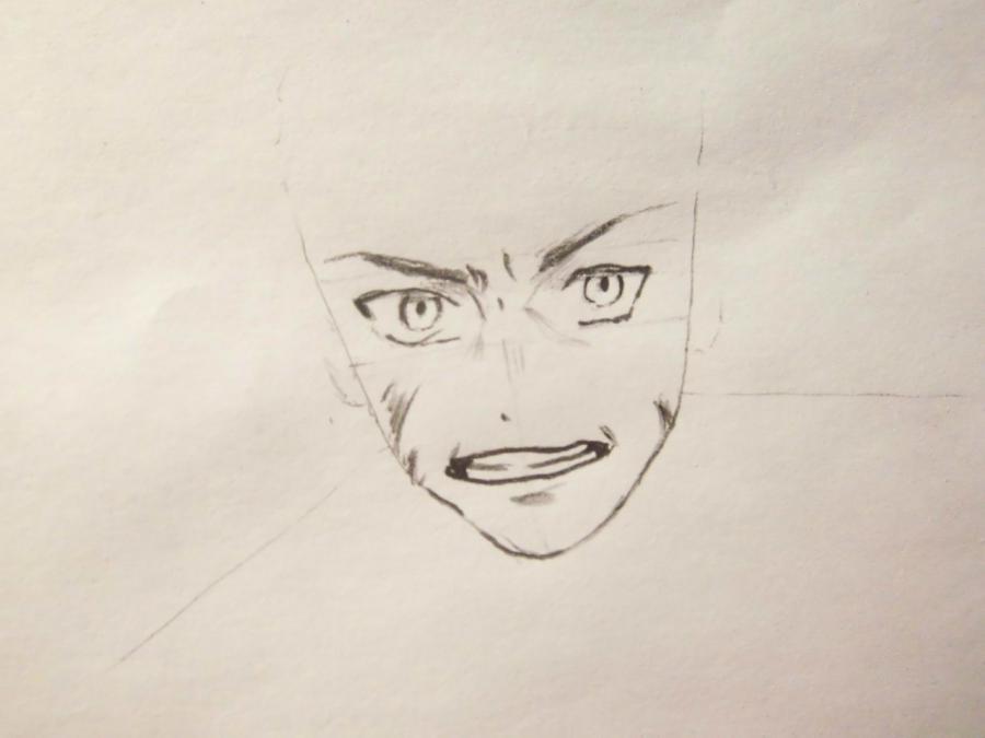 Рисуем Эрена Йегера простыми карандашами - шаг 2