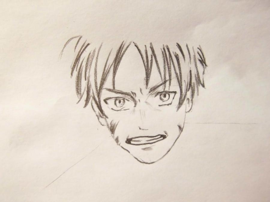 Рисуем Эрена Йегера простыми карандашами - шаг 3
