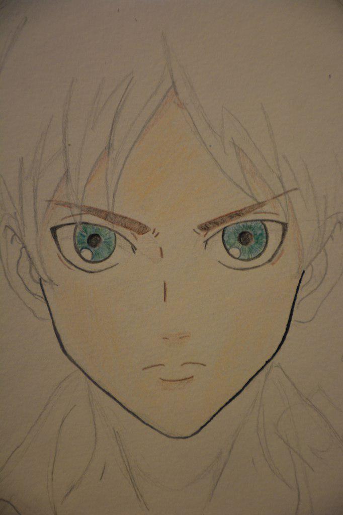 Рисуем Эрена Йегеря цветными карандашами - шаг 10